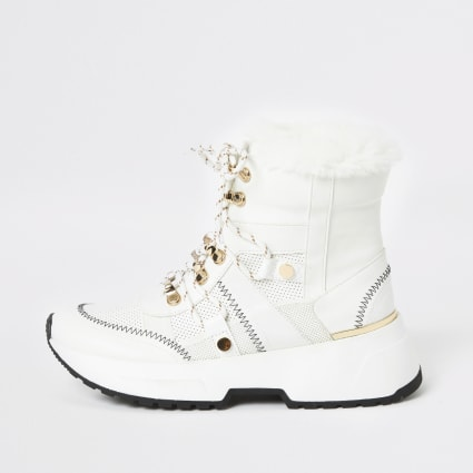 White lace up trainer boots