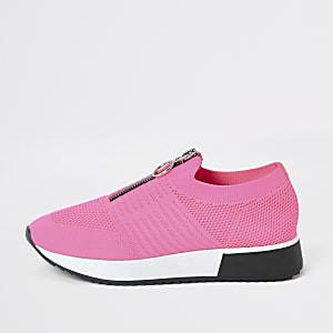 Gestrickte Sneaker in Neonrosa mit Reißverschluss vorne