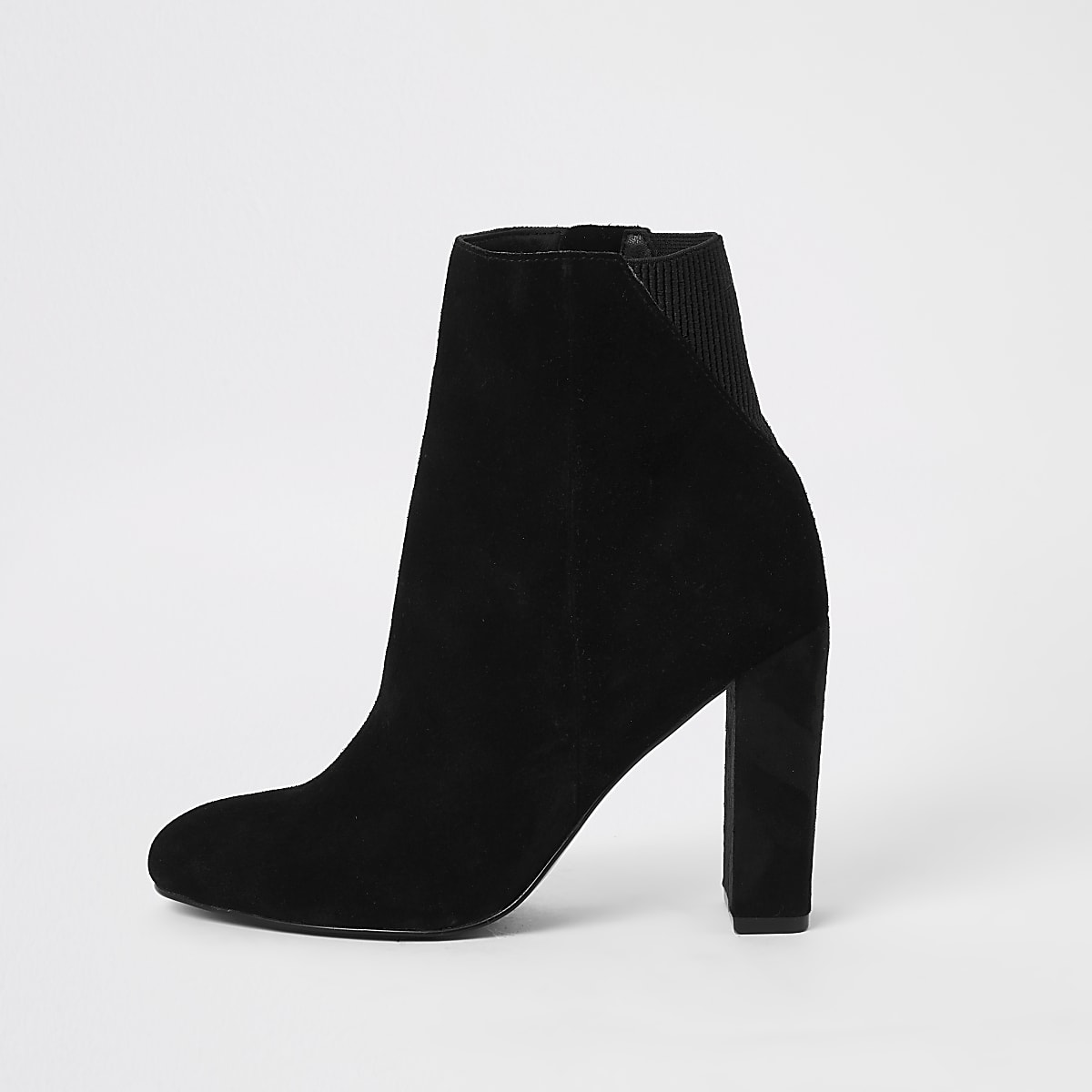 Black suede round toe heeled ankle boots