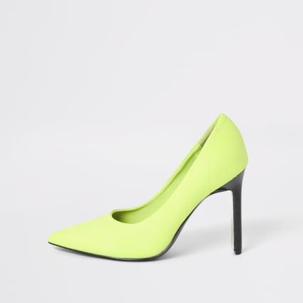 Neon green skinny heel scuba court shoe