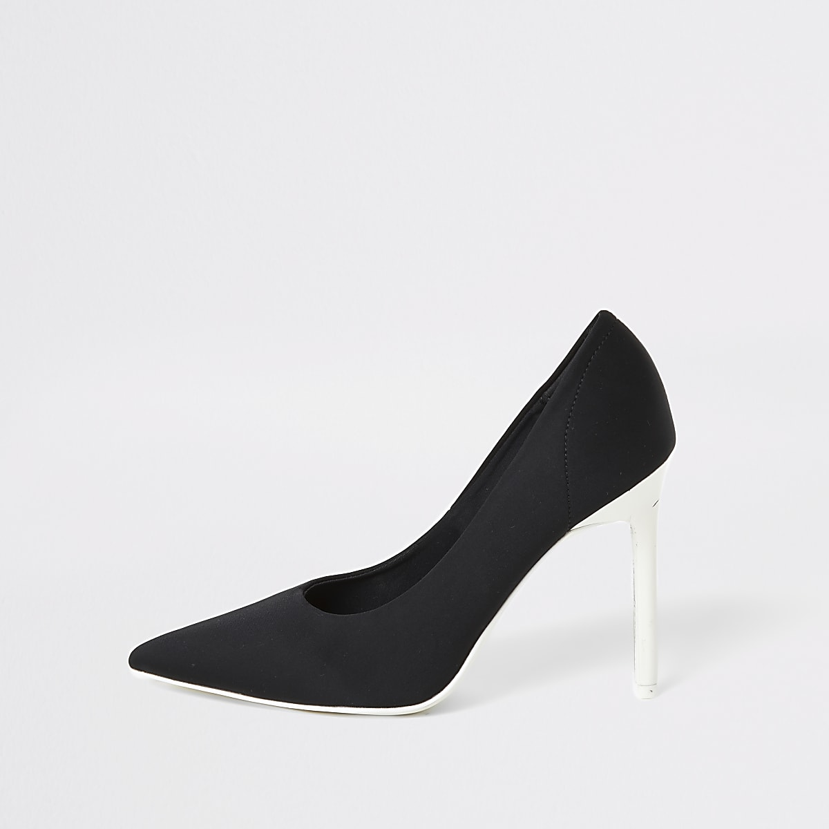 Black skinny heel scuba court shoe