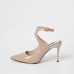Light pink patent cut out court shoe