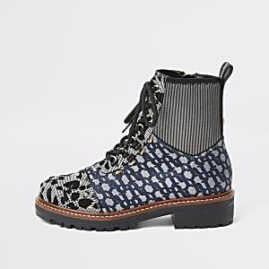 Chaussures de randonnée plates bleues imprimées à lacets