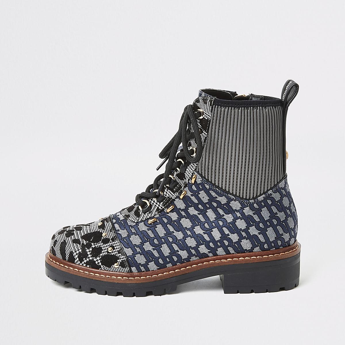 Blauwe wandelschoenen met print en vetersluiting