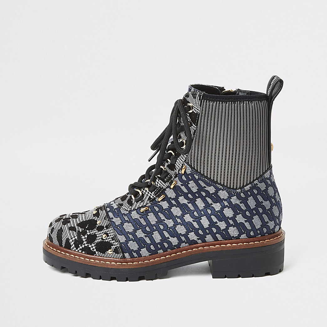 Blue printed lace-up flat hiker boots
