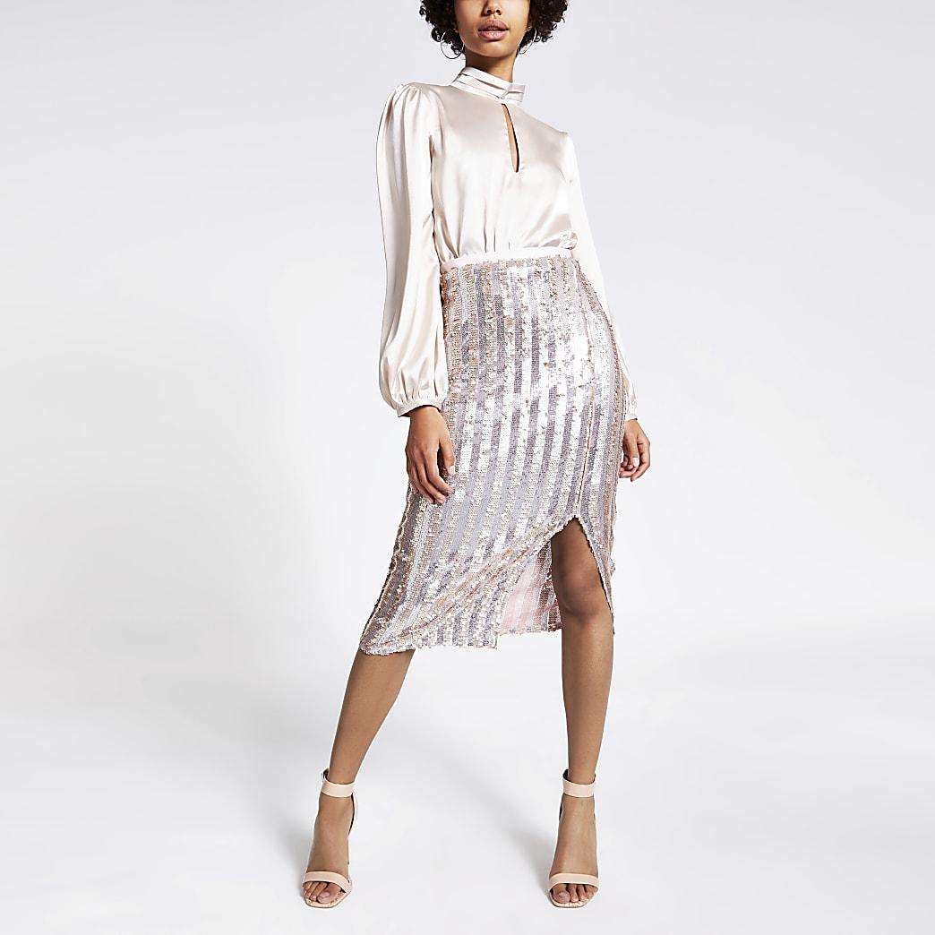 Pink sequin stripe pencil midi skirt