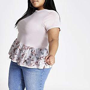 Plus – T-shirt rose effet tie and dye à ourlet péplum
