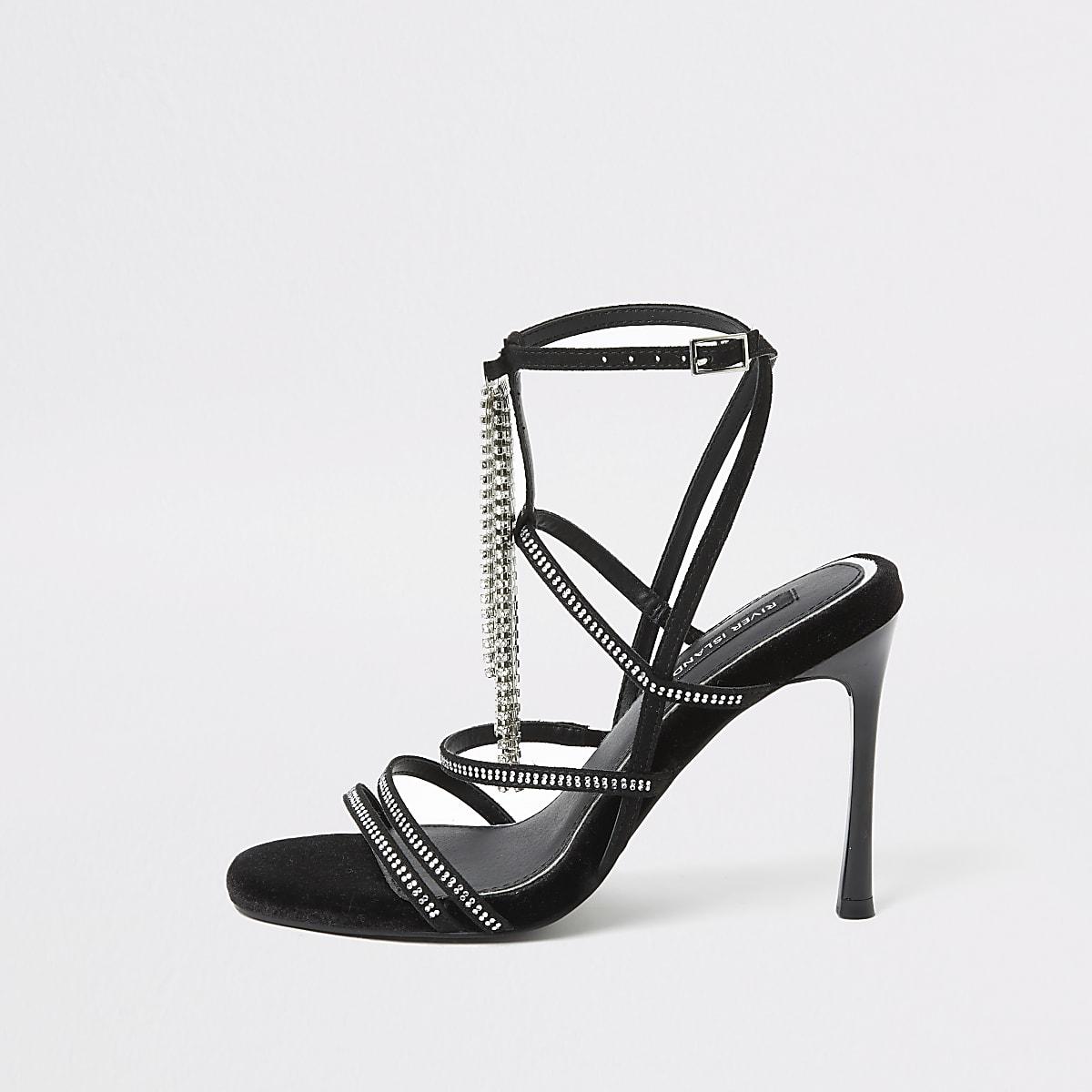 Zwarte sandalen met siersteentjes, hak en bandjes