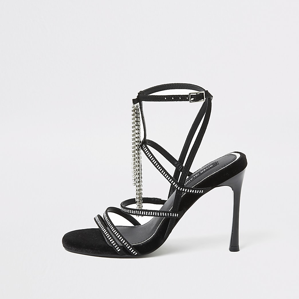 Black diamante strappy heeled sandal