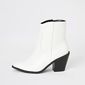 Bottines western à talons blancs
