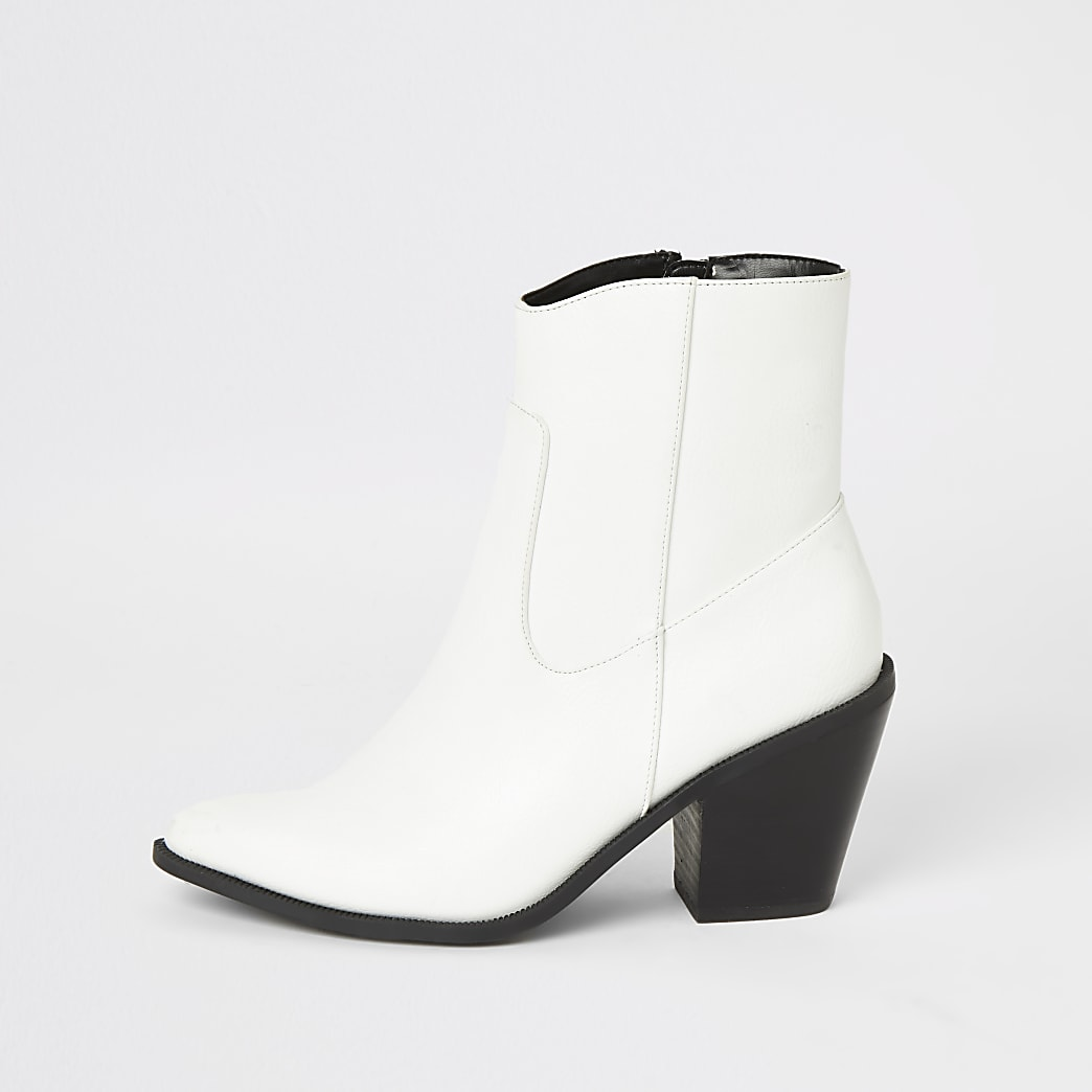 White heeled western ankle boots