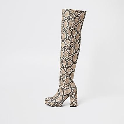 Brown snake print over the knee platform boot