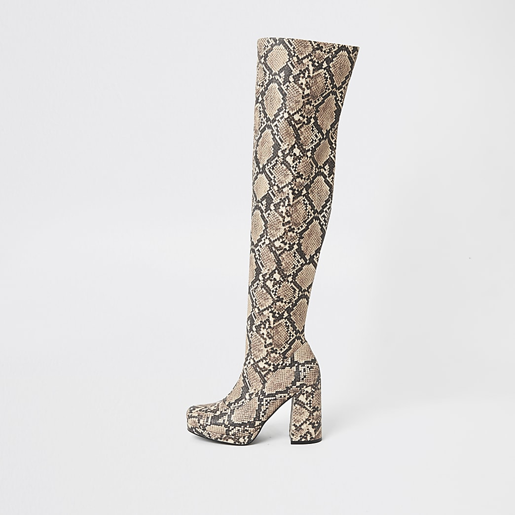 Brown snake print over the knee platform boot