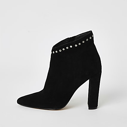 Black suede embellished heeled ankle boot