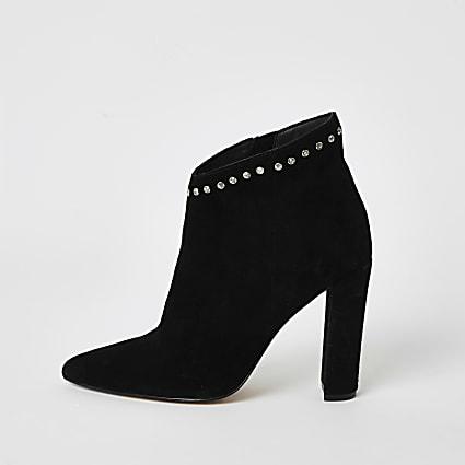 Black suede embellished heeled ankle boot