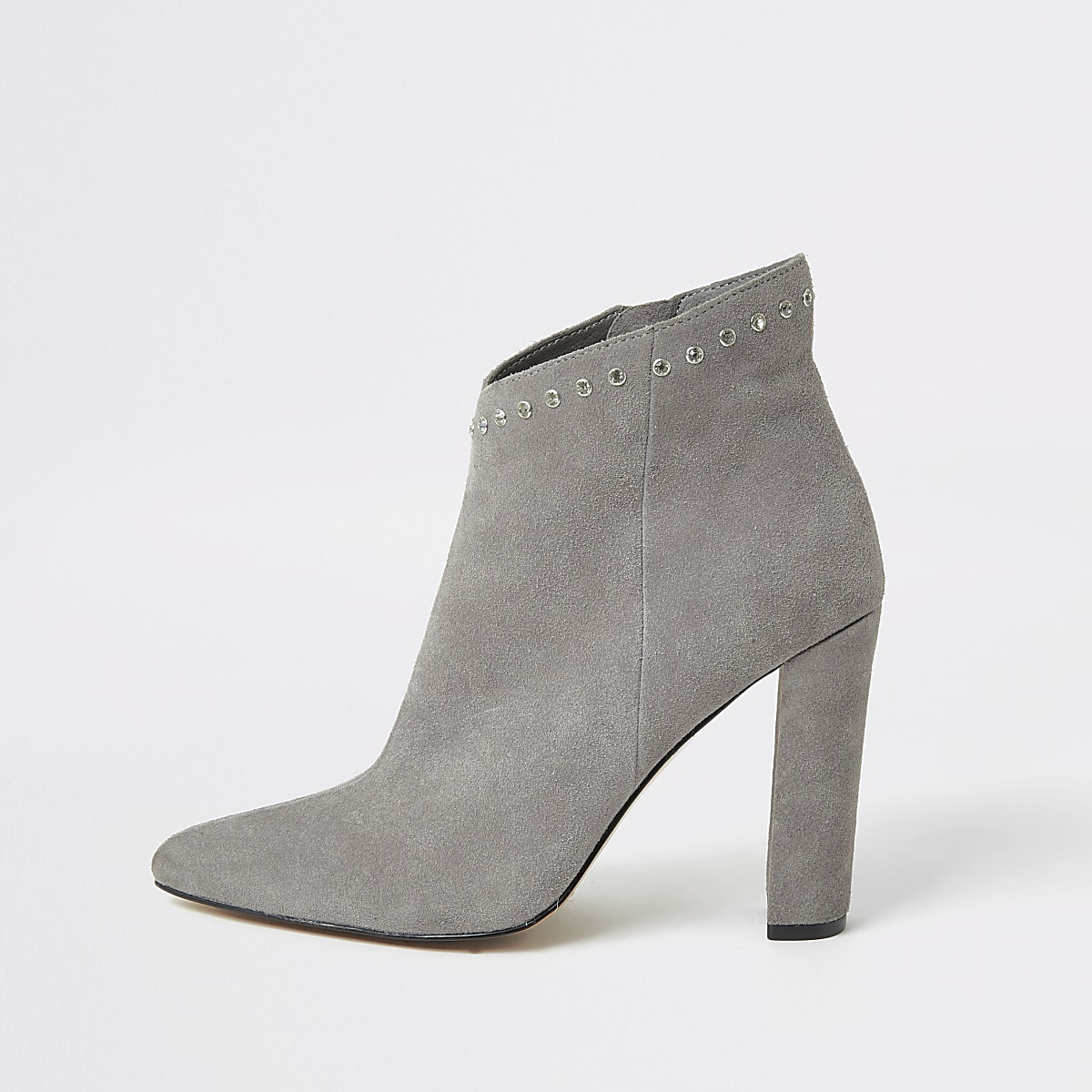 Grey suede diamante top heeled ankle boots