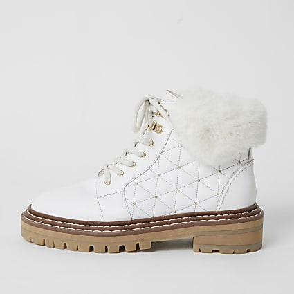 White leather quilted lace-up hiking boots
