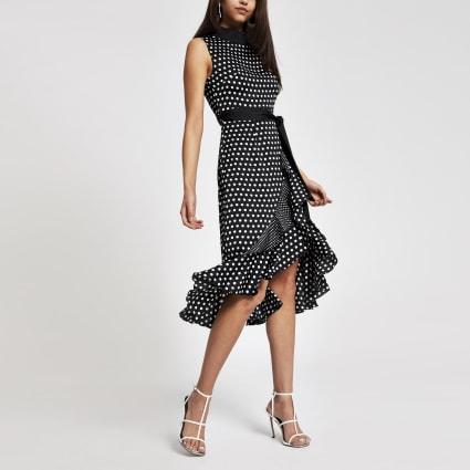 Forever Unique black polka dot midi dress
