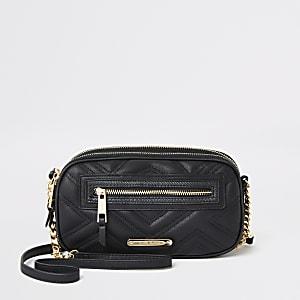 Mini sac à bandoulière matelassé noir