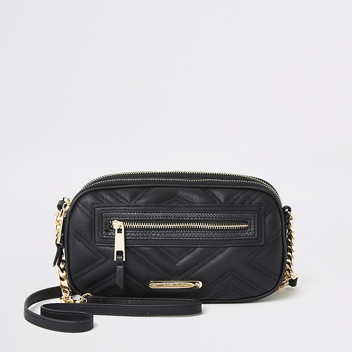 Black quilted mini cross body bag