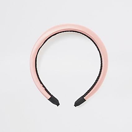 Pink satin headband