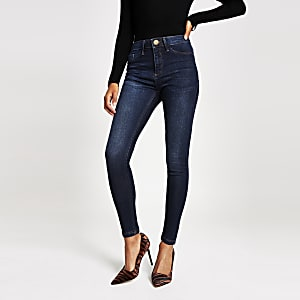 Molly - Donkerblauwe jegging met halfhoge taille