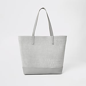 Graue Shopper-Tasche/Tote Bag aus Leder in Kroko-Optik