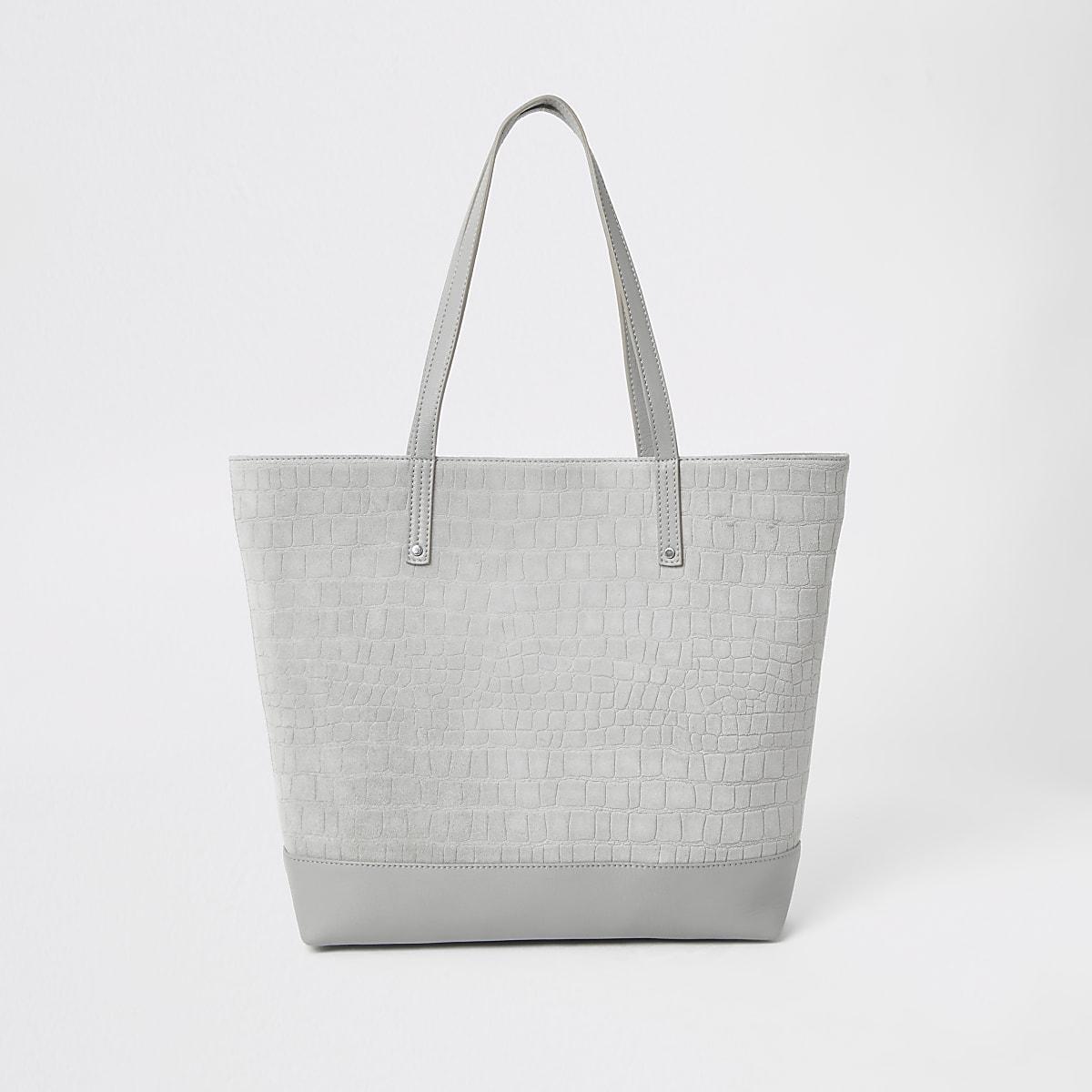 Cabas en cuir gris en relief effet croco