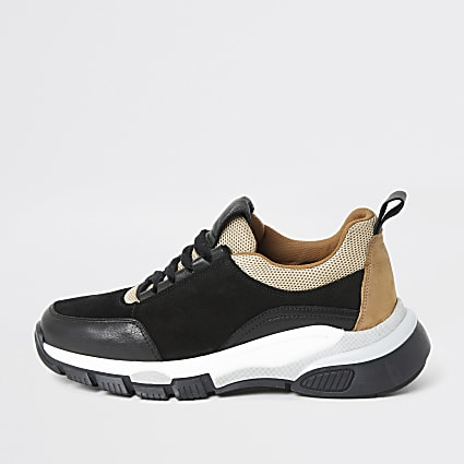 Black leather chunky lace-up runner trainers