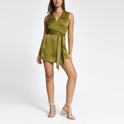 Khaki wrap playsuit