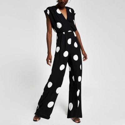 Black polka dot wide leg jumpsuit
