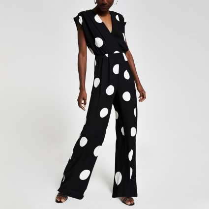 Black polka dot wide leg jumpsuit