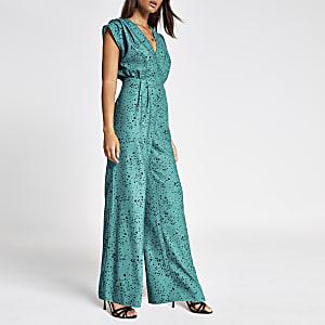 Grüner Overall mit Herzprint und weitem Bein