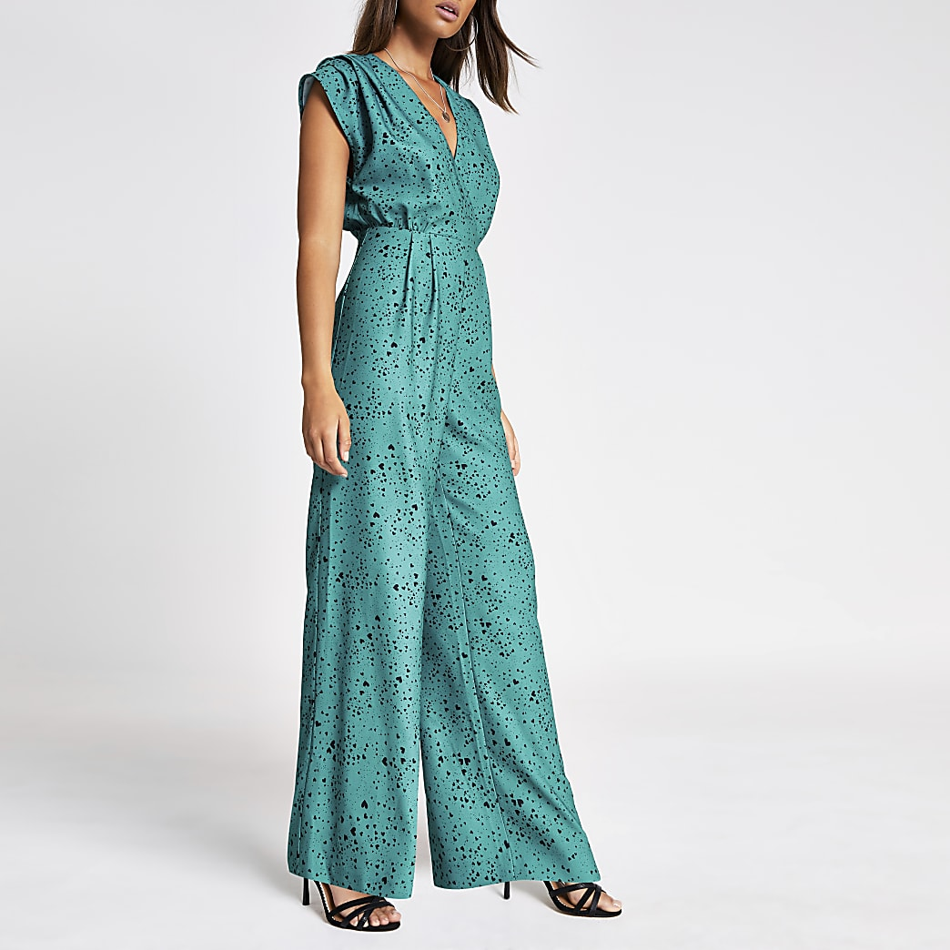 Green heart print wide leg jumpsuit