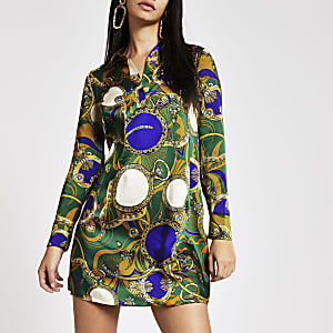 Green print shirt dress