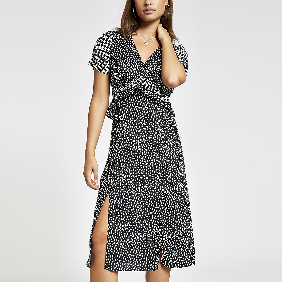 Black print puff sleeve midi dress