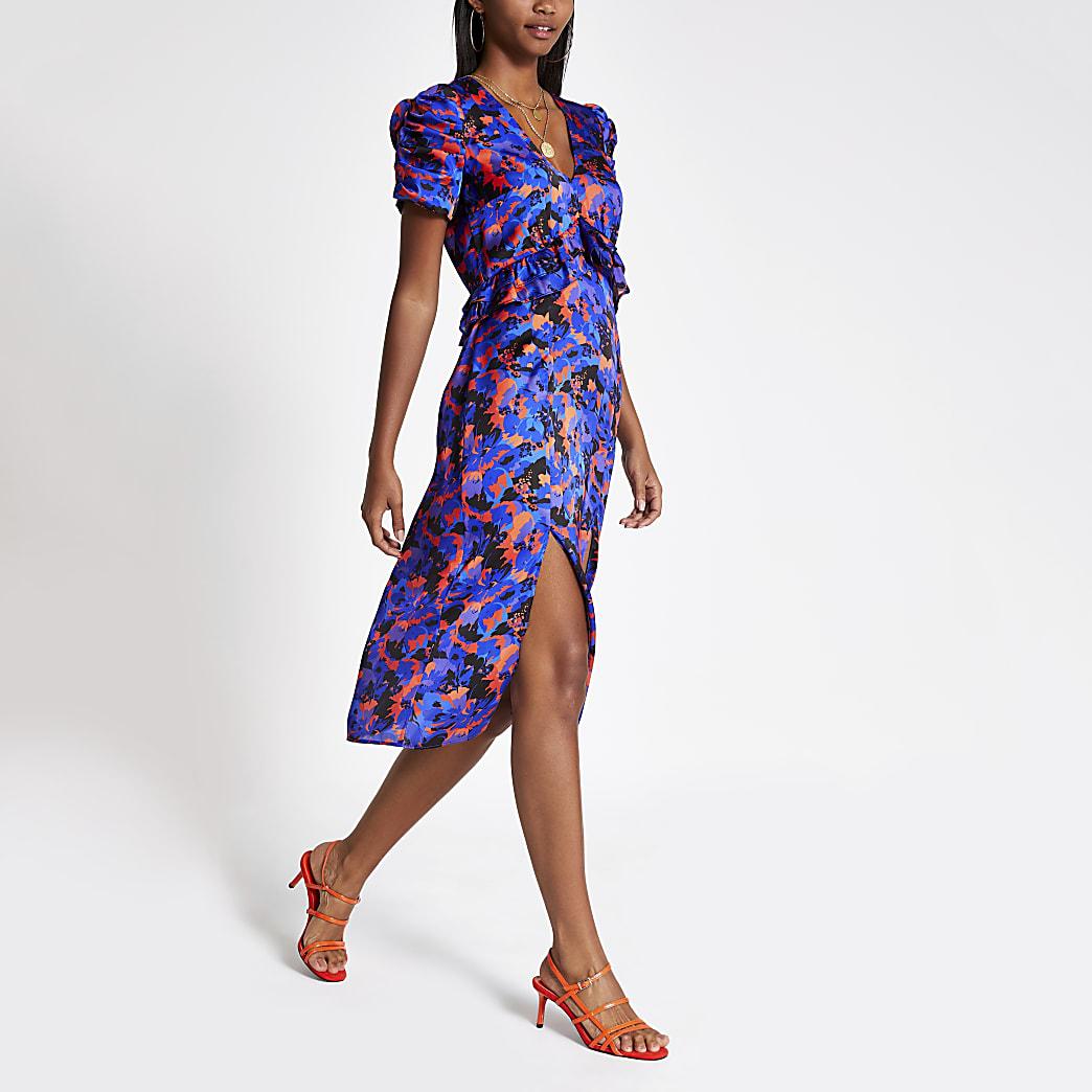 Blauwe midi-jurk met print en pofmouwen