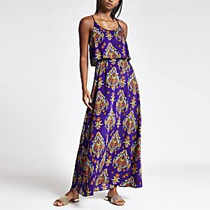 Robe longue imprimée violette