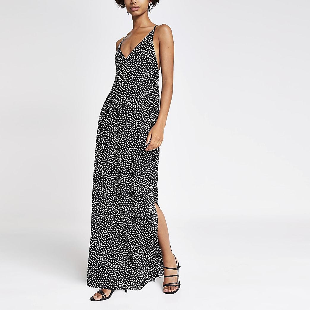 Black polka dot maxi slip dress