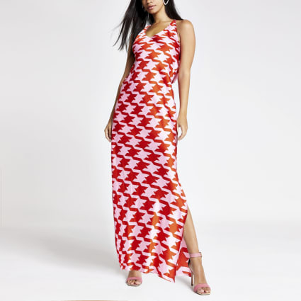 Pink dogtooth check maxi slip dress
