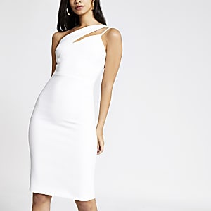 White one shoulder bodycon dress