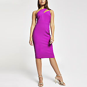 Purple one shoulder bodycon dress