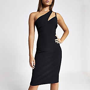 Schwarzes figurbetontes One-Shoulder-Kleid