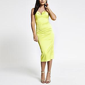 Neon green bandeau bodycon dress