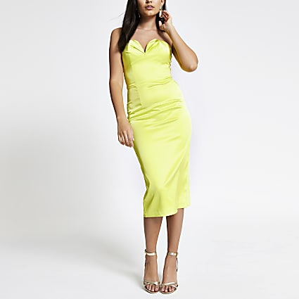 Neon green bandeau bodycon dress