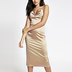 Beiges Bodycon-Kleid