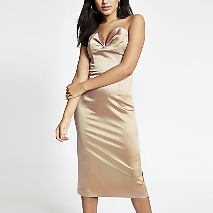 Beige bandeau bodycon dress