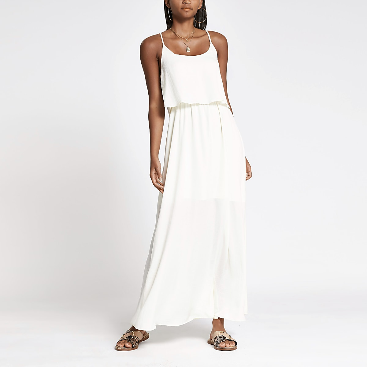 White layered maxi dress