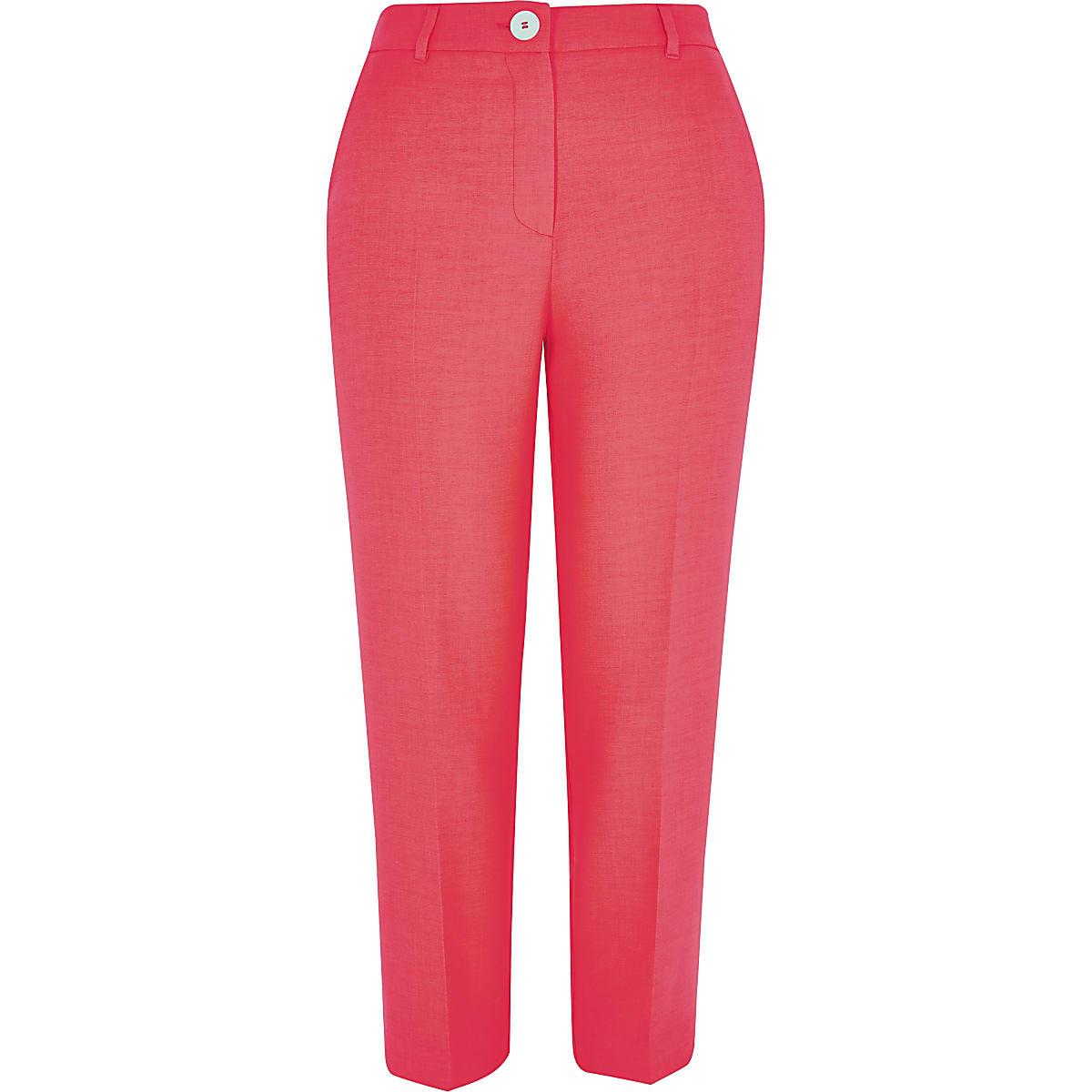 Petite neon pink cigarette trousers