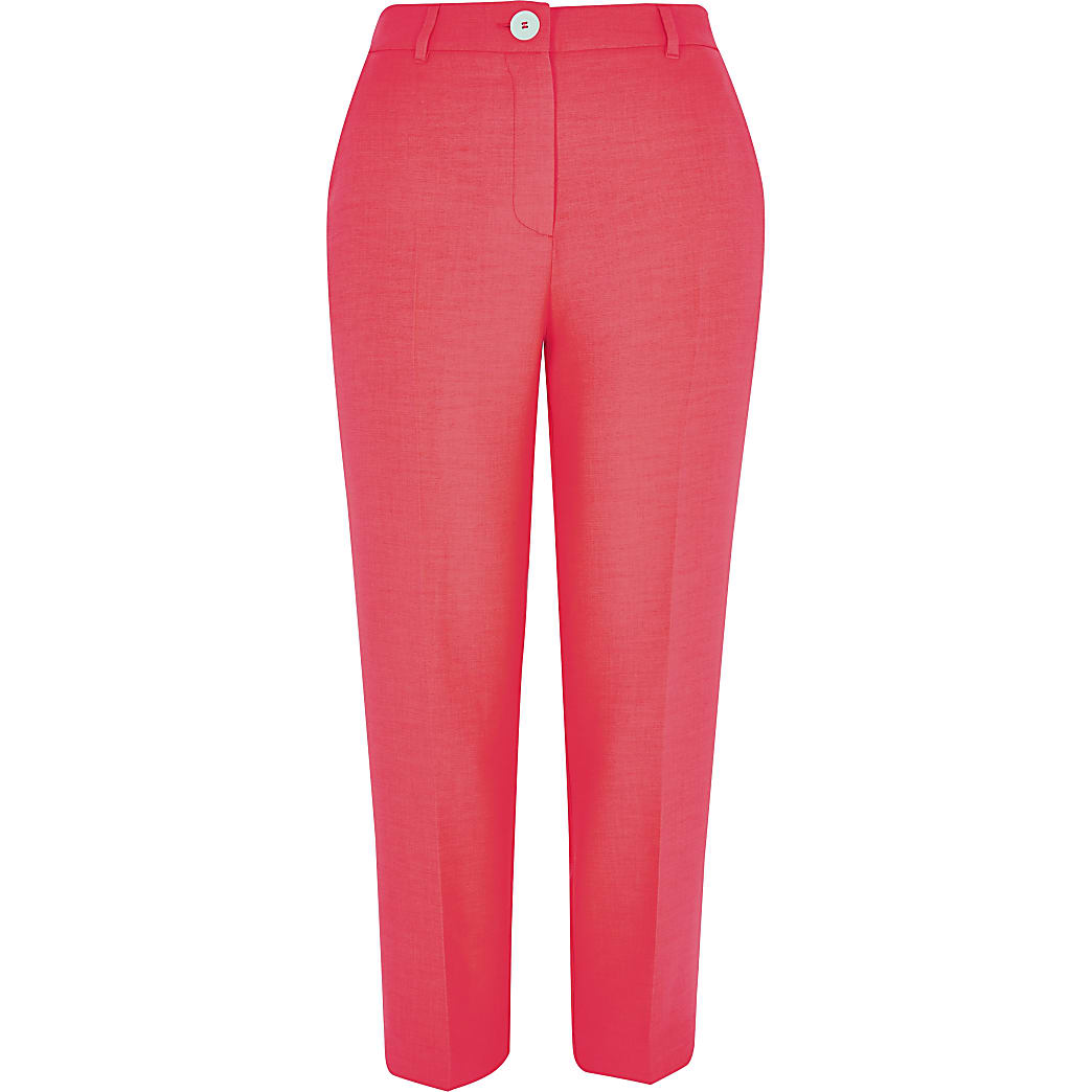 Petite – Pantalon cigarette rose fluo